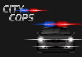 La polizia illumina il vettore dell'automobile