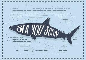 Illustrazione di sagoma squalo vettoriale gratuito con tipografia