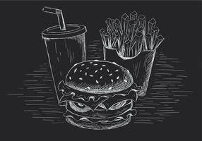 Illustrazione disegnata a mano dell'hamburger di vettore