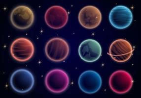 Pianeti incandescenti nell'universo vettore