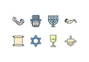 Set di icone ebraiche vettore