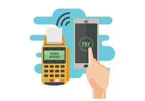 Illustrazione di vettore di pagamento di NFC. Concetto di pagamento mobile