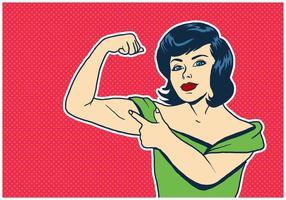 Giovane donna felice che flette i muscoli vettore