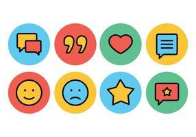 Testimonianze e set di icone di feedback vettore