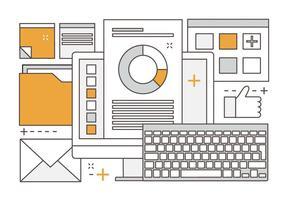Illustrazione di media digitali vettoriali lineari gratis