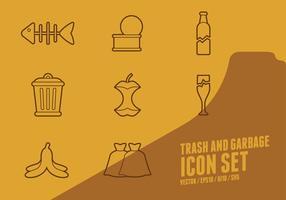 Icone di spazzatura e immondizia vettore