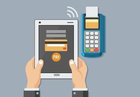 Uomo con il tablet per il pagamento mobile con tecnologia NFC vettore