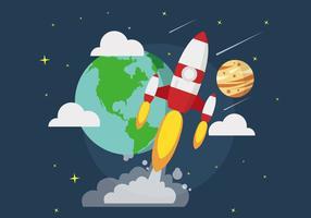 Illustrazione della nave spaziale sullo spazio vettore