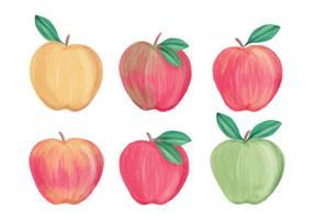 Raccolta di mele disegnate a mano di vettore
