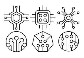 Icone di chip del computer lineare vettore