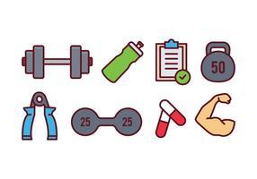 Set di icone di fitness e palestra