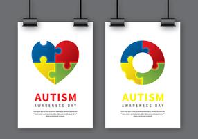 Vettore di mock up del manifesto di consapevolezza di autismo