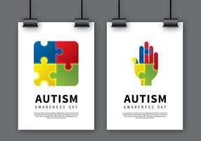 Poster di consapevolezza di autismo Mock Up vettore