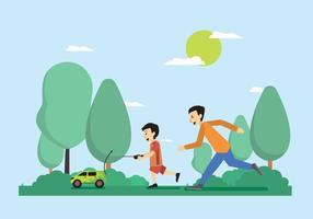 Little Boy felice che gioca l'illustrazione telecomandata vettore
