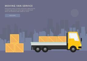 Spostamento di furgoni o camion. Illustrazione di trasporto o di consegna.