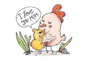 Carino mamma pollo e figlio con citazione carina vettore