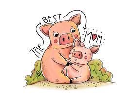 Carino mamma Piggy e canzone con lettering vettore