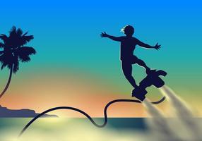 Atleta che vola sul suo vettore del getto di acqua