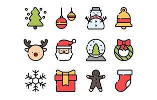 articoli natalizi impostare icone vettore