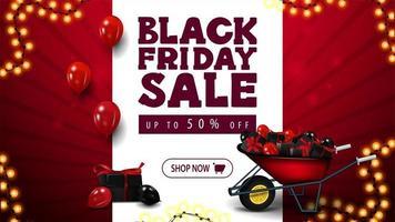 vendita venerdì nero, banner sconto rosso vettore