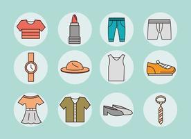 set di icone semplice abbigliamento e accessori unisex vettore