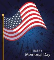 banner di celebrazione del memorial day con bandiera americana vettore