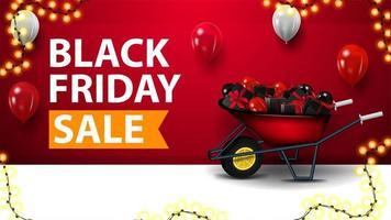 vendita venerdì nero, banner sconto rosso