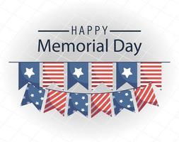 banner di celebrazione del memorial day con bandiere americane vettore