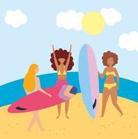 persone in spiaggia che fanno attività estive vettore