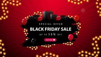 offerta speciale venerdì nero, banner rosso e nero