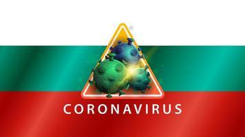 segno del coronavirus covid-2019 sulla bandiera della bulgaria