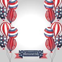 banner di celebrazione del memorial day con palloncini americani vettore