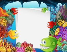 banner di carta bianca con pesci esotici e elementi della natura sottomarina sullo sfondo subacqueo