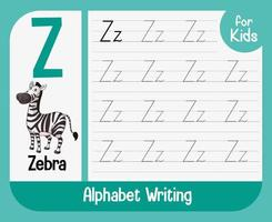 foglio di lavoro di tracciamento alfabeto con lettera e vocabolario