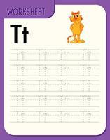 foglio di lavoro per tracciare l'alfabeto con la lettera te t vettore