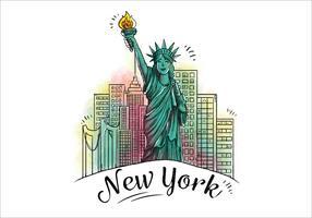Disegno di carattere Statua della libertà con la costruzione dietro l'icona di New York City vettore