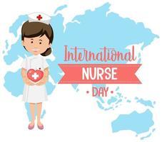 logo della giornata internazionale dell'infermiera con infermiera carina sullo sfondo della mappa vettore