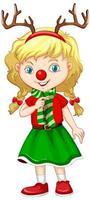 ragazza carina nel personaggio dei cartoni animati di Natale costume vettore