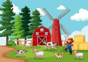 contadino con fattoria degli animali nella scena della fattoria in stile cartone animato vettore