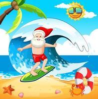 Babbo Natale che fa surf in spiaggia per il Natale estivo vettore