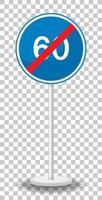 Segnale stradale di limite minimo di velocità blu 60 con supporto isolato su sfondo trasparente