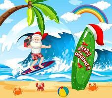 Babbo Natale che fa surf in spiaggia per il Natale estivo