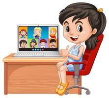 una chat video ragazza con gli amici su sfondo bianco vettore