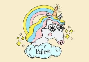 Unicorno carino con occhiali e arcobaleno
