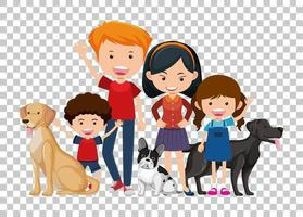 una coppia e bambini con i loro cani da compagnia isolati su sfondo trasparente vettore