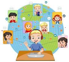 vista frontale di un ragazzo che utilizza laptop per comunicare in videoconferenza con gli amici su sfondo bianco