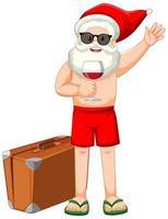 Babbo Natale con personaggio dei cartoni animati di bicchiere di vino in costume estivo vettore