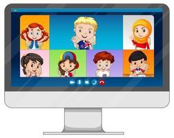 video chat online dello studente sullo schermo del computer su sfondo bianco vettore