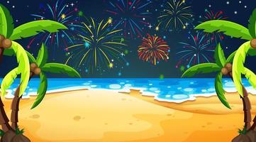 fuochi d'artificio sul cielo dalla vista della spiaggia vettore