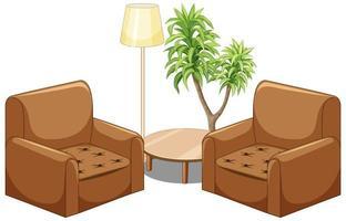 mobili divano marrone con lampada e albero isolato su sfondo bianco